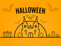 Happy halloween concept orange background with bats moon cauldron pumkin coffin graves castle church. Vector design for web page graphics, wallpaper. 31 Stock Photo