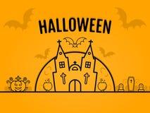 Happy halloween concept orange background with bats moon cauldron pumkin coffin graves castle church. Stock Photo