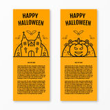 Happy halloween concept orange vertical banners set with bats moon pumkin coffin graves castle church. Halloween vector design for web page graphics. Party Stock Images