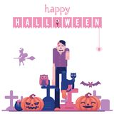Happy halloween congratulation banner with zombie walking on graveyard with tombs and carved pumpkins. Happy halloween congratulation banner with zombie with vector illustration