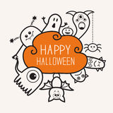 Happy Halloween contour outline doodle. Ghost, bat, pumpkin, spider, monster set. Orange cloud. White background Flat design Stock Photos