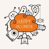 Happy Halloween contour outline doodle. Ghost, bat, pumpkin, spider, monster set. Orange cloud. White background Flat design Stock Photos