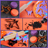 Happy Halloween cookie baking collage. Happy Halloween cooking baking collage with orange and purple cookies, cookie cutters and decorations on orange, purple Stock Images