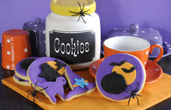 Happy Halloween cookies and cookie jar. Stock Photos