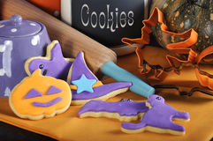 Happy Halloween cookies with rolling pin - close up. Stock Photography