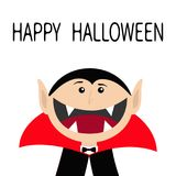 Happy Halloween. Count Dracula head face wearing black and red cape. Cute cartoon vampire character with fangs. Big mouth. Greetin Royalty Free Stock Photo