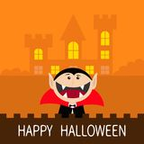 Happy Halloween. Count Dracula head face wearing black and red cape. Cute cartoon vampire character with fangs. Castle hauted hous Royalty Free Stock Photography