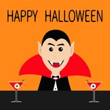 Happy Halloween. Count Dracula head face wearing black and red cape.  Royalty Free Stock Photography