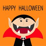 Happy Halloween. Count Dracula head face wearing black and red cape.. Cute cartoon vampire character with fangs. Big mouth. Greeting card. Flat design. Orange Royalty Free Stock Photography