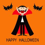 Happy Halloween. Count Dracula wearing black and red cape. Cute cartoon vampire character with big open mouth, tongue and fangs. T. Happy Halloween. Count Royalty Free Stock Photo