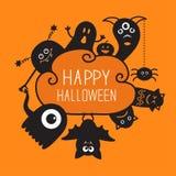 Happy Halloween countour doodle. Ghost, bat Stock Photos