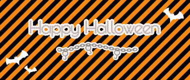 Happy halloween created from chain. With hooks and bats, vector Royalty Free Stock Image