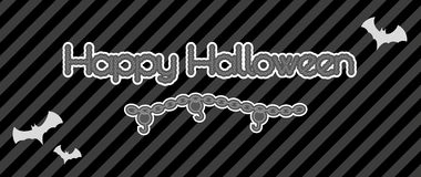 Happy halloween created from chain. With hooks and bats, vector Royalty Free Stock Photo