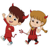 Happy Halloween.Cute devil mascot in halloween party. Royalty Free Stock Image