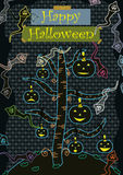 Happy Halloween Cute_eps. Illustration of Happy Halloween Card with cute ghost and pumpkin Stock Photo