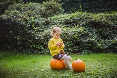 Happy Halloween. Cute little girl is sitting on a pumpkin and holding an apple in her hand royalty free stock photography
