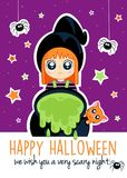 Happy Halloween - Cute little witch, cat and spiders - party invitation vector illustration