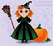Happy Halloween. Cute little witch and pumpkin background Stock Photo