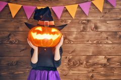 Child in witch costume Stock Photography