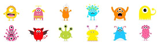 Happy Halloween. Cute monster icon set. Cartoon colorful scary funny character. Eyes, tongue, hands up. Funny baby collection. Whi. Te background Isolated. Flat royalty free illustration