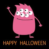 Happy Halloween. Cute pink monster icon. Cartoon colorful scary funny character. Eyes, hair, holding hands up, waving hand. Funny. Baby collection. Black vector illustration