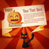 Happy halloween cute retro banner on the craft. Paper with black cat and pumpkin, with halloween greeting and place for your text Stock Photos
