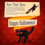 Happy halloween cute retro banner - craft paper. Happy halloween cute retro banner on the craft paper texture with black startled cat and witch on the broomstick Royalty Free Stock Images
