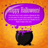 Happy halloween cute retro banner on craft paper. Happy halloween cute retro banner on the craft paper texture with black witch cauldron boiling the potion, with Royalty Free Stock Photo