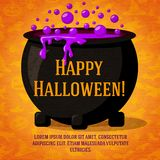 Happy halloween cute retro banner on craft paper. Happy halloween cute retro banner on the craft paper texture with black witch cauldron boiling the potion, with Royalty Free Stock Image