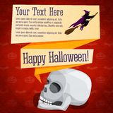 Happy halloween cute retro banner - craft paper. Happy halloween cute retro banner on the craft paper texture with white human skull and witch on the broomstick Royalty Free Stock Photos