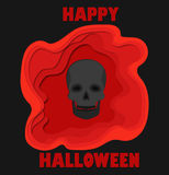 Happy halloween 3d abstract paper cut illlustration of black skull and pool of blood. Vector template carving style. Happy halloween 3d abstract paper cut Stock Images