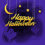 Happy halloween 3d abstract paper cut illlustration of cemetery, moon, ghosts. Stock Photo