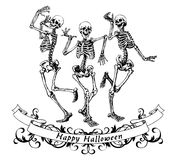 Happy halloween dancing skeletons isolated vector illustration Stock Photos