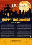 Happy Halloween on dark background. Vector illustration of Happy Halloween night brochure background Stock Photography