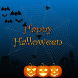 Happy halloween. On the dark blue background Stock Images