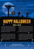 Happy Halloween on dark blue background. Vector illustration of Happy Halloween night brochure background Royalty Free Stock Image