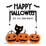 Happy Halloween Day ,  Bat and spider on text , Cute pumpkin smile spooky scary but cute and black cat party. On white background ,  illustration , sign Stock Image