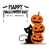 Happy Halloween Day ,  Bat and spider on text , Cute pumpkin smile spooky scary but cute and black cat party isolated. On white background ,  illustration Stock Photos