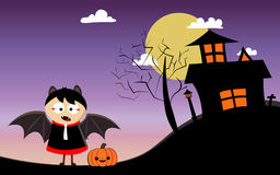 Happy Halloween day with boy. And pumpkin monster Royalty Free Stock Photos