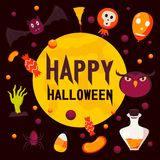 Happy halloween day concept background, flat style stock illustration