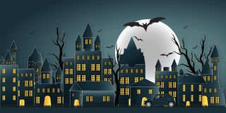Happy Halloween day ghost party with castle on yellow moon. Paper art of happy halloween day ghost party with castle on moon in the sky over the abandoned vector illustration