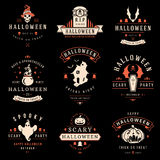 Happy Halloween day labels and badges. Design collection vector illustration Royalty Free Stock Photo