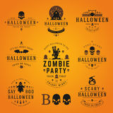 Happy Halloween day labels and badges Stock Photos