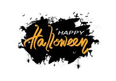 Happy Halloween day logo and sign poster, creative design grunge brush black silhouette concept abstract background vector royalty free illustration