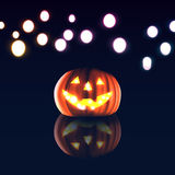 Happy halloween day. Pumpkin on dark and bokeh background Stock Photography