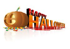 Happy halloween day with smile big pumpkin. And colorful candy Stock Photography