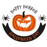 Happy halloween day vector illustration with spider and pumpkin stock illustration