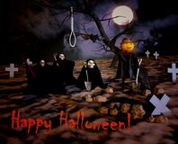 Happy Halloween with death and cemetery. Halloween greeting and Stock Images