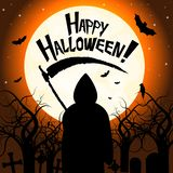 Happy Halloween - death with scythe. Halloween illustration - death with scythe, spooky trees with craws, flying bats - Happy Halloween vector illustration