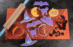 Happy Halloween decorated sugar cookies Royalty Free Stock Photos
